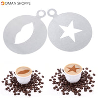 KCASA KC-LM01 1 Pc Stainless Steel Coffee Pattern Template Stencils Cappuccino Latte Art Mold Tools