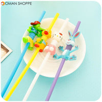 Mini Cute Animal Flexible Plastic Straw Creative Drinking Disposable Kids Party Straws 2pcs Pack