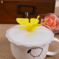 Novelty Silicone Bottle Cup Mug Lid Cover Cartoon Butterfly Cup Cover
