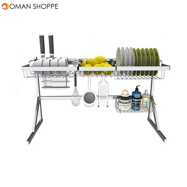 Single Double Slot Stainless Steel Dish Drying Rack Storage Multifunctional Arrangement for Home Kitchen Counter