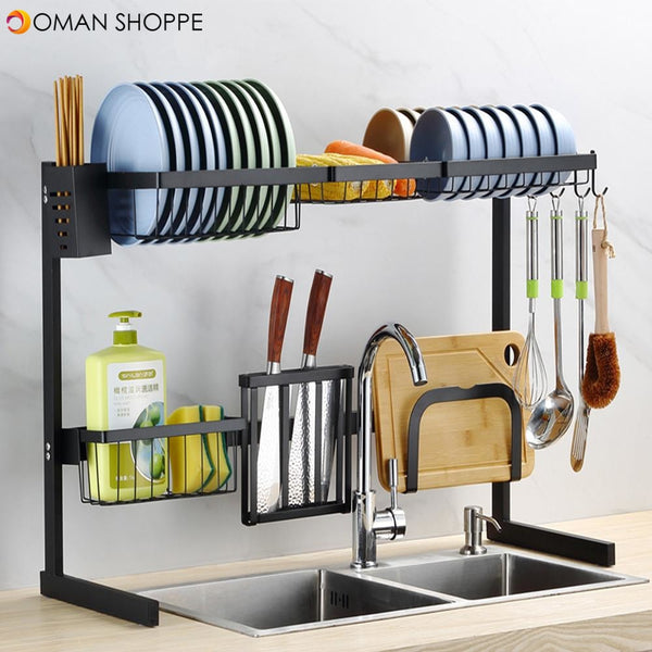 Stainless Steel Over Sink Dish Drying Rack Holder Storage Multifunctional Arrangement for Kitchen Counter