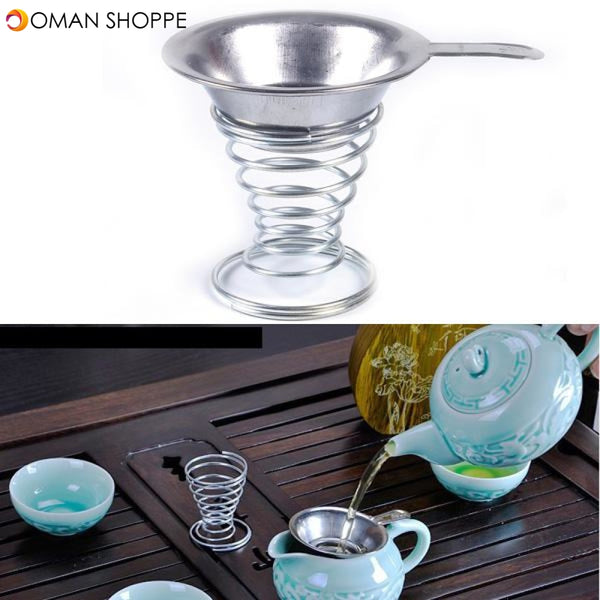 Stainless Steel Tea Filter Tea Strainer Spring Tea Stainer Holder Kung Fu Tea Accessaries
