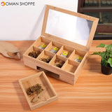 Wooden Tea Coffee Box 8 Section Compartments Glass Lid Multi Storage Spice Chest Kitchen Storage Container