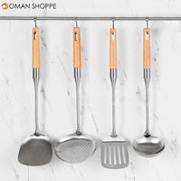 YISHIYIWU Kitchen 4 Pieces Stainless Steel Scoop Sleeve with Beech Handle Cooking Spoon From Xiaomi Youpin