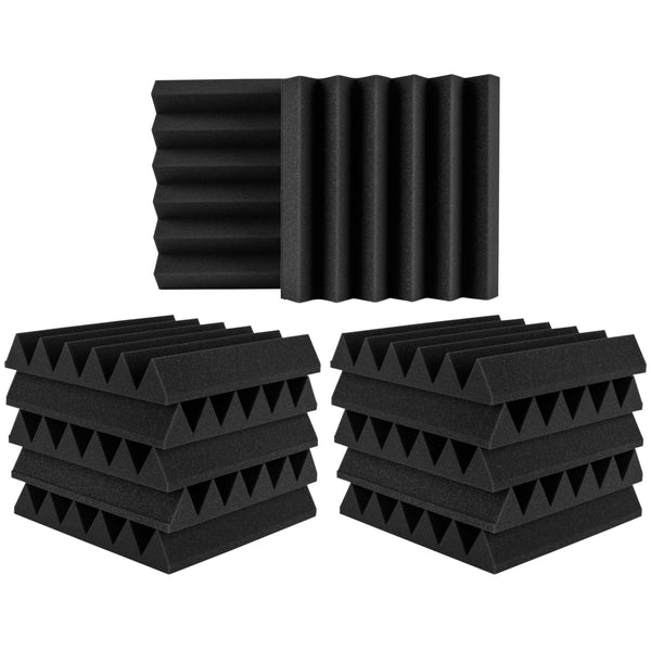 "(24 Pk) Charcoal 2""x12""x12"" Soundproofing Acoustic Studio Foam Wedge Style Panels Tiles - Top Quality - Ideal for Home & Studio Absorption Sound Insulation - Supreme Acoustics"