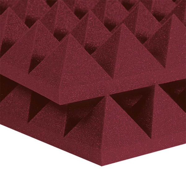 "3"" Burgundy Acoustic Foam (12 Pack Kit) - Pyramid 3"" 12"" x 12"" covers 12sq Ft SoundProofing/Blocking/Absorbing Acoustical Foam Made In USA!"