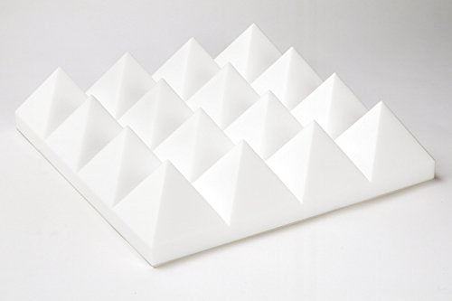"Acoustic Foam 3"" Thick White Pyramid Style 4ft X 6ft Sheet (24 Sqft)"