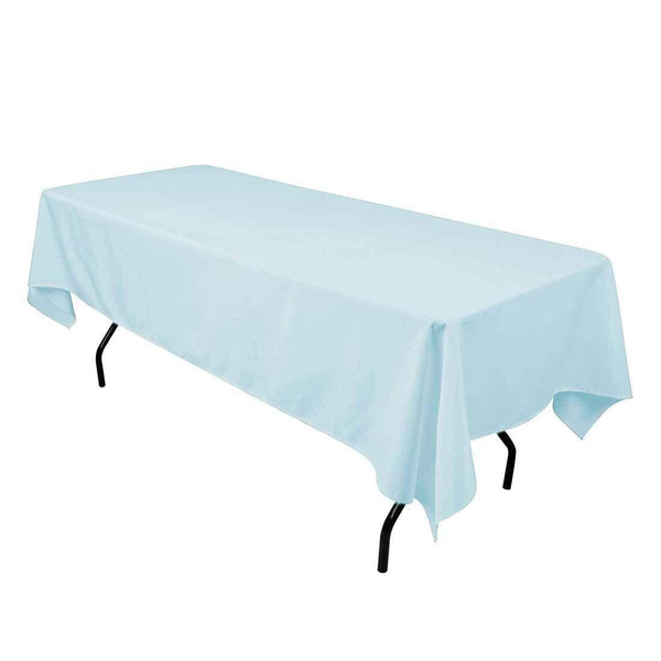 "Rectangle Tablecloth - 60 x 102"" Inch - Baby Blue Rectangular Table Cloth for 6 Foot Table in Washable Polyester - Great for Buffet Table, Parties, Holiday Dinner, Wedding & More"