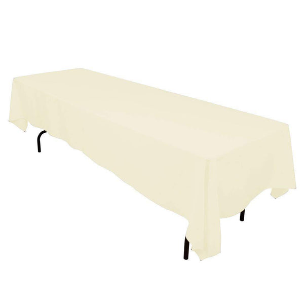 Rectangle Tablecloth - 60 x 120 Inch - Ivory Rectangular Table Cloth in Washable Polyester - Great for Buffet Table, Parties, Holiday Dinner, Wedding & More