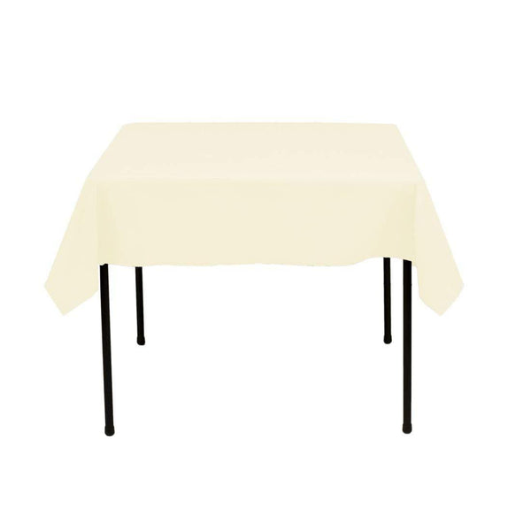 Square Tablecloth - 60 x 60 Inch - Ivory Square Table Cloth for Square or Round Tables in Washable Polyester - Great for Buffet Table, Parties, Holiday Dinner, Wedding & More