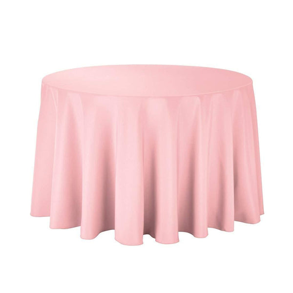 "108"" Inch Round Tablecloths for Circular Table Cover in Pink Washable Polyester - Great for Buffet Table, Parties, Holiday Dinner & More"