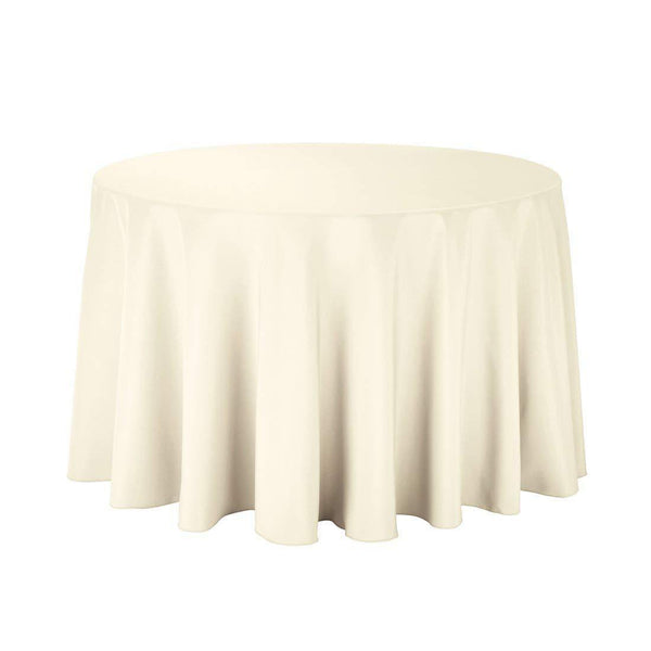 "108"" Inch Round Tablecloths for Circular Table Cover in Ivory Washable Polyester - Great for Buffet Table, Parties, Holiday Dinner & More"