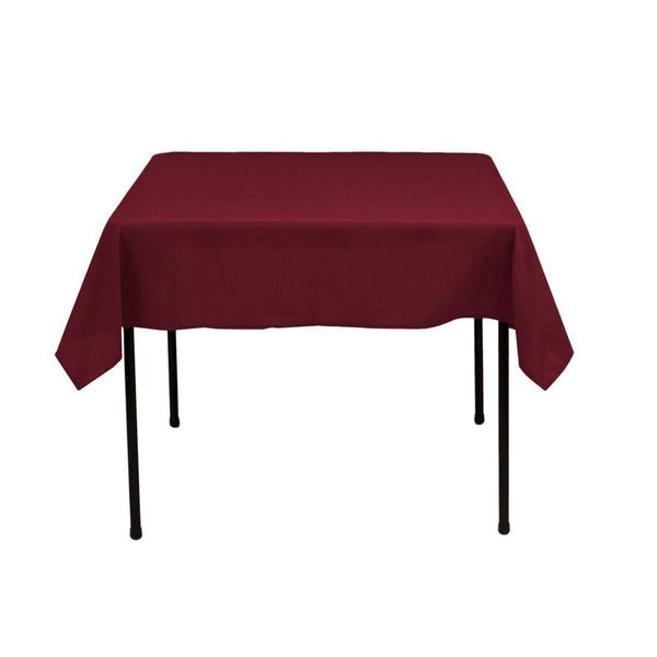 Square Tablecloth - 60 x 60 Inch - Burgundy Square Table Cloth for Square or Round Tables in Washable Polyester - Great for Buffet Table, Parties, Holiday Dinner, Wedding & More