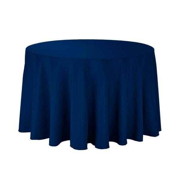 "108"" Inch Round Tablecloths for Circular Table Cover in Navy Washable Polyester - Great for Buffet Table, Parties, Holiday Dinner & More - Supreme Acoustics"