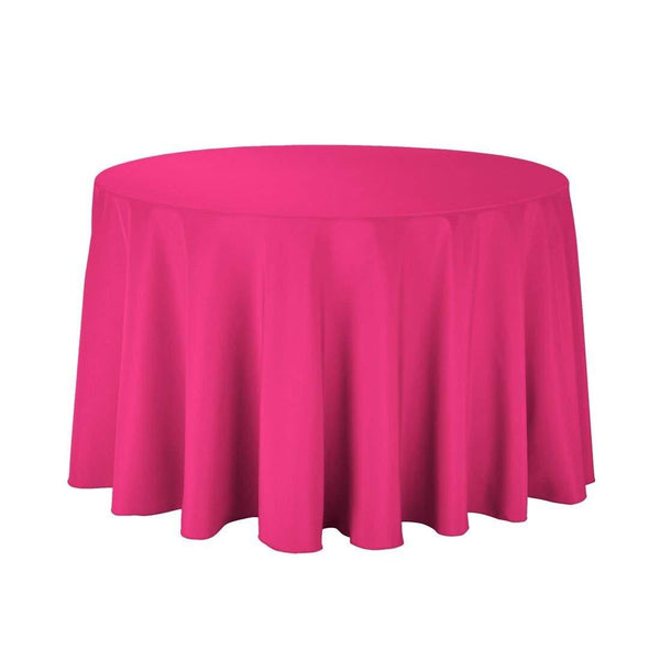 "108"" Inch Round Tablecloths for Circular Table Cover in Fuchsia Washable Polyester - Great for Buffet Table, Parties, Holiday Dinner & More - Supreme Acoustics"