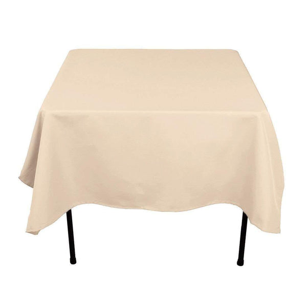 Square Tablecloth - 60 x 60 Inch - Beige Square Table Cloth for Square or Round Tables in Washable Polyester - Great for Buffet Table, Parties, Holiday Dinner, Wedding & More
