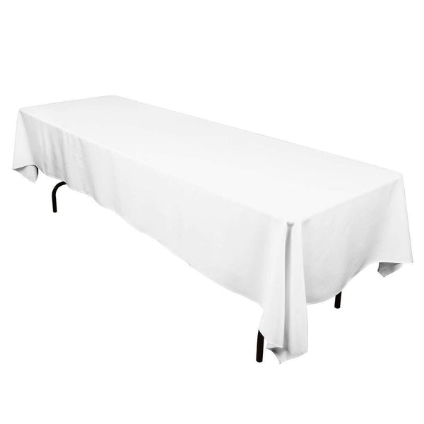 Rectangle Tablecloth - 60 x 120 Inch - White Rectangular Table Cloth in Washable Polyester - Great for Buffet Table, Parties, Holiday Dinner, Wedding & More - Supreme Acoustics
