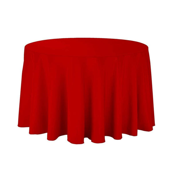 "108"" Inch Round Tablecloths for Circular Table Cover in Red Washable Polyester - Great for Buffet Table, Parties, Holiday Dinner & More - Supreme Acoustics"