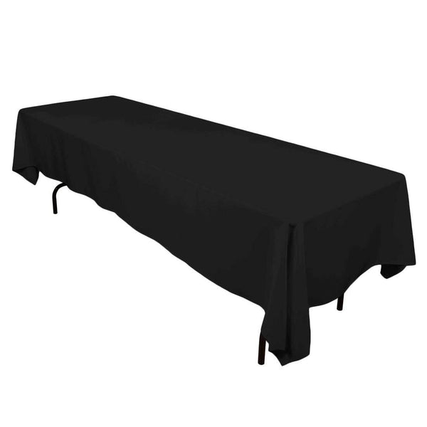 Rectangle Tablecloth - 60 x 120 Inch - Black Rectangular Table Cloth in Washable Polyester - Great for Buffet Table, Parties, Holiday Dinner, Wedding & More