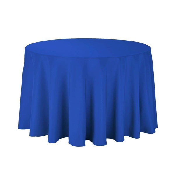 "108"" Inch Round Tablecloths for Circular Table Cover in Royal Blue Washable Polyester - Great for Buffet Table, Parties, Holiday Dinner & More"