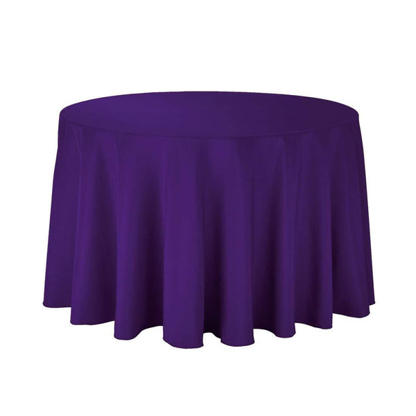 "108"" Inch Round Tablecloths for Circular Table Cover in Purple Washable Polyester - Great for Buffet Table, Parties, Holiday Dinner & More - Supreme Acoustics"