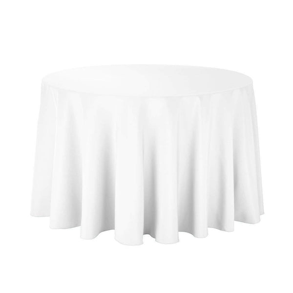 "108"" Inch Round Tablecloths for Circular Table Cover in White Washable Polyester - Great for Buffet Table, Parties, Holiday Dinner & More"