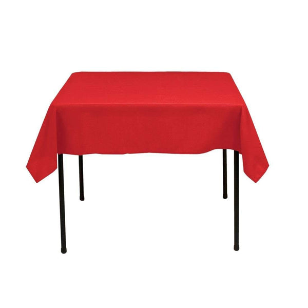 Square Tablecloth - 60 x 60 Inch - Red Square Table Cloth for Square or Round Tables in Washable Polyester - Great for Buffet Table, Parties, Holiday Dinner, Wedding & More - Supreme Acoustics