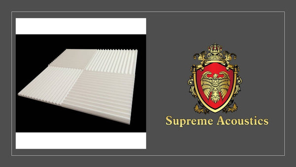"Supreme White Wedge 1""X 12""X 12""Sound Damping Sound Proofing/Blocking (48 Pack) - Supreme Acoustics"