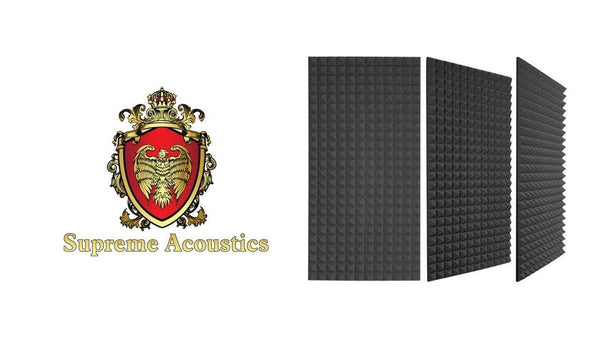"Sound Absorption Pyramid Studio Treatment Wall Panel, 2"" X 24"" X 72"" (2 Pack) - Supreme Acoustics"