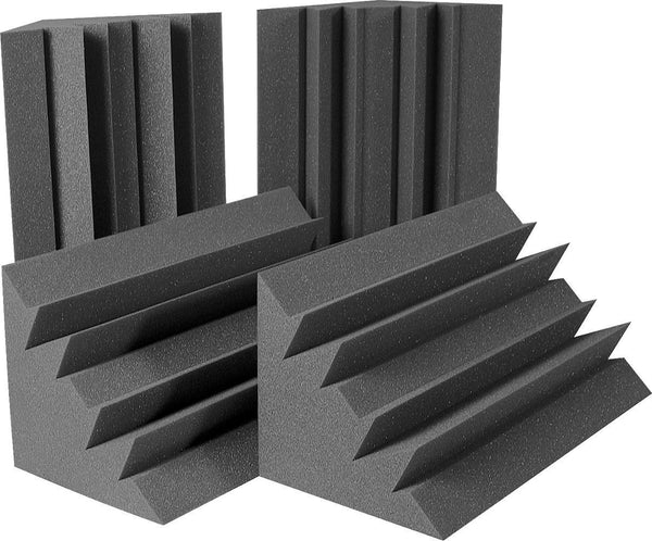 "Acoustic Foam Bass Traps - 4 Pack (Charcoal) 12"" X 12"" X 48"" - Supreme Acoustics"