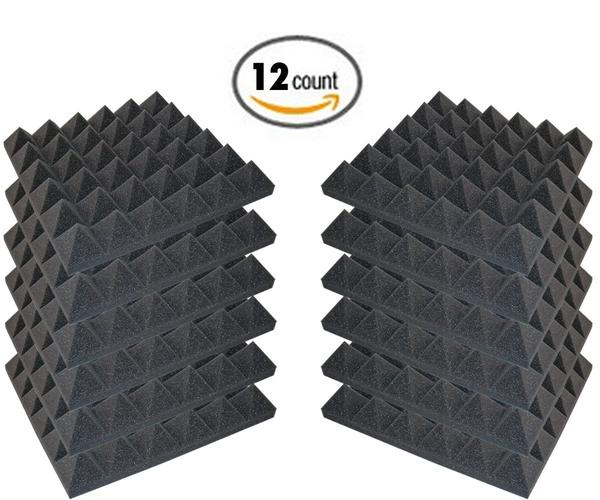 "48 Pack - Acoustic Foam Sound Absorption Pyramid Studio Treatment Wall Panels, 2"" X 12"" X 12"" - Supreme Acoustics"