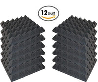 "24 Pack - Acoustic Foam Sound Absorption Pyramid Studio Treatment Wall Panels, 2"" X 12"" X 12"" - Supreme Acoustics"