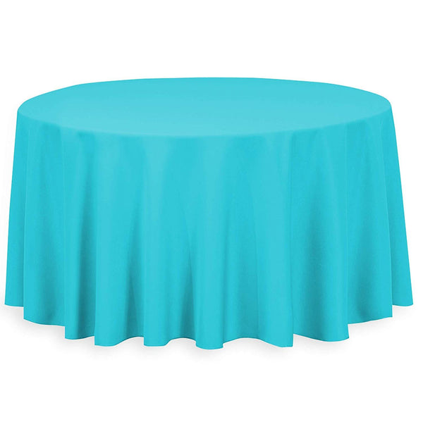 "108"" Inch Round Tablecloths for Circular Table Cover in Turquoise Washable Polyester - Great for Buffet Table, Parties, Holiday Dinner & More"