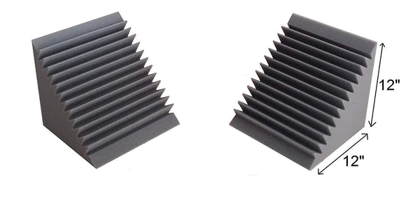 "Acoustic Foam Bass Trap Corner- 2 Pack 12"" X 12"" X 12"" - Supreme Acoustics"