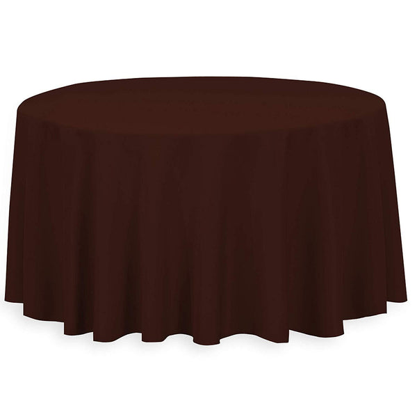 "108"" Inch Round Tablecloths for Circular Table Cover in Chocolate Washable Polyester - Great for Buffet Table, Parties, Holiday Dinner & More - Supreme Acoustics"