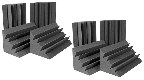 "Acoustic Foam Bass Traps - 8 Pack (Charcoal) 12"" X 12"" X 48"" - Supreme Acoustics"
