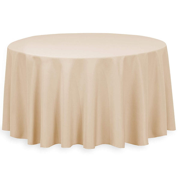 "108"" Inch Round Tablecloths for Circular Table Cover in Beige Washable Polyester - Great for Buffet Table, Parties, Holiday Dinner & More"