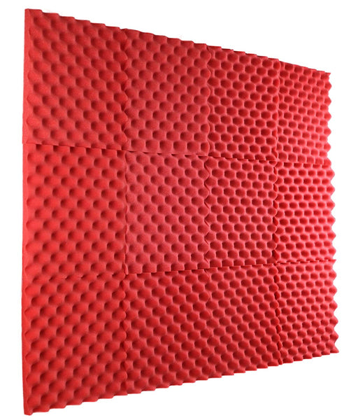 "Red Acoustic Panels Studio Foam Egg Crate 1"" X 12"" X 12"" ( 12 Pack )"
