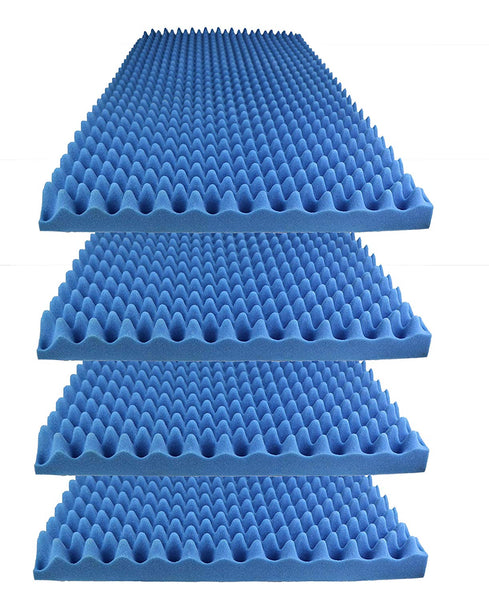 "Acoustic Foam Egg Crate Panel Studio Foam Wall Panel 48"" X 24"" X 2.5"" (4 Pack) Blue - Supreme Acoustics"