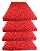"Acoustic Foam Egg Crate Panel Studio Foam Wall Panel 48"" X 24"" X 2.5"" (4 Pack) Red - Supreme Acoustics"
