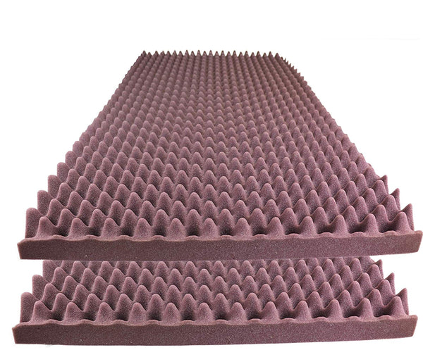 "Acoustic Foam Egg Crate Panel Studio Foam Wall Panel 48"" X 24"" X 2.5"" (2 Pack) Burgundy - Supreme Acoustics"