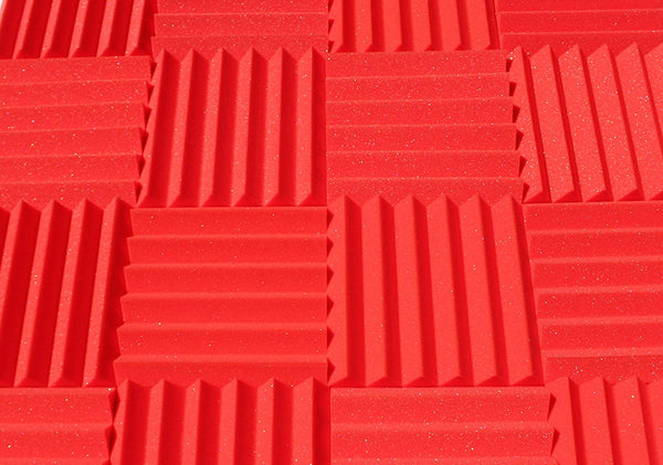 "2"" Red Acoustic Foam (12 Pack Kit) - Wedge 2"" 12"" x 12"" covers 12sq Ft SoundProofing/Blocking/Absorbing Acoustical Foam - Made In USA!"
