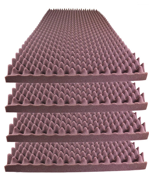 "Acoustic Foam Egg Crate Panel Studio Foam Wall Panel 48"" X 24"" X 2.5"" (4 Pack) Burgundy - Supreme Acoustics"