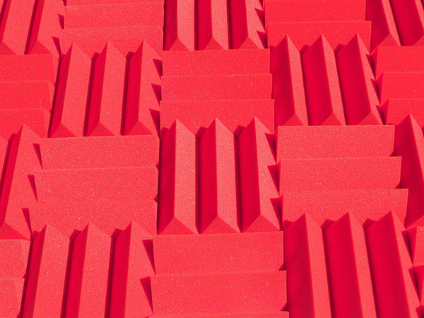 "4"" Red Acoustic Foam (12 Pack Kit) - Wedge 4"" 12"" x 12"" covers 12sq Ft - SoundProofing/Blocking/Absorbing Acoustical Foam - Made In USA!"