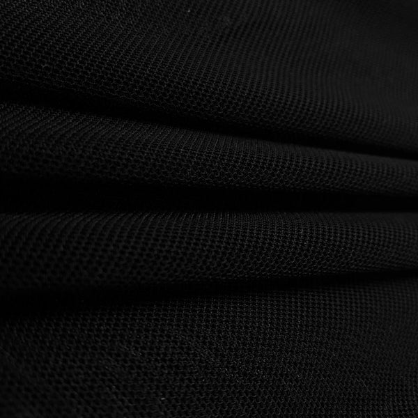 "Solid Power Mesh Fabric Nylon Spandex 60"" wide Stretch Sold By Yard Black"