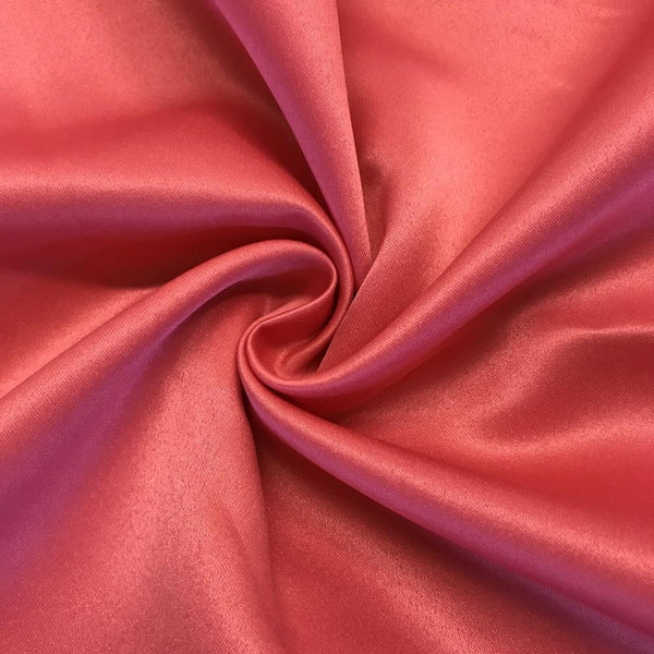 "Coral Matte Satin (Peau de soie) Dutchess Satin Fabric 60"" Inches 100% polyester By The Yard For Blouses, Dresses, Gowns and Skirts."