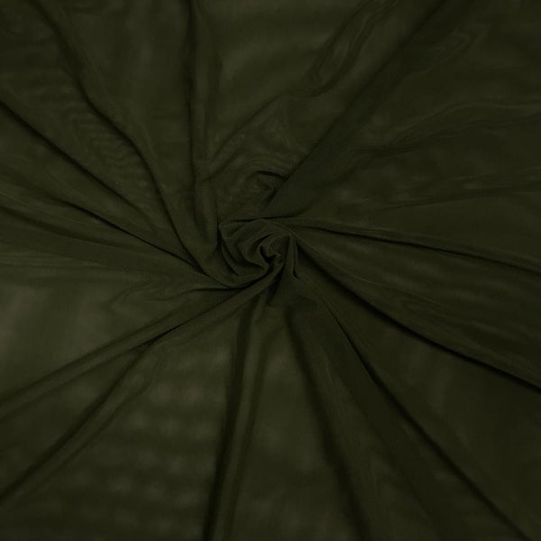 "Solid Power Mesh Fabric Nylon Spandex 60"" wide Stretch Sold By Yard Dark Olive - Supreme Acoustics"