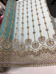 Shop Lace Fabric Beaded Fabric Multicolor Mint Lace Heavy Beads For Bridal Veil Mesh Dress Top Wedding Decoration By The Yard
