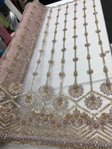 Shop Lace Fabric Beaded Fabric Multicolor Pink Lace Heavy Beads For Bridal Veil Mesh Dress Top Wedding Decoration By The Yard