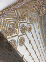 Shop Lace Fabric Beaded Fabric Multicolor Champagne Lace Heavy Beads For Bridal Veil Mesh Dress Top Wedding Decoration By The Yard